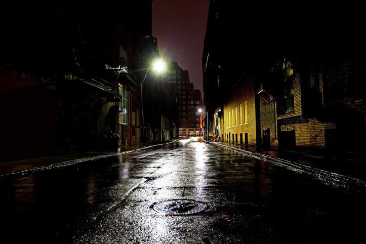 empty dark city street