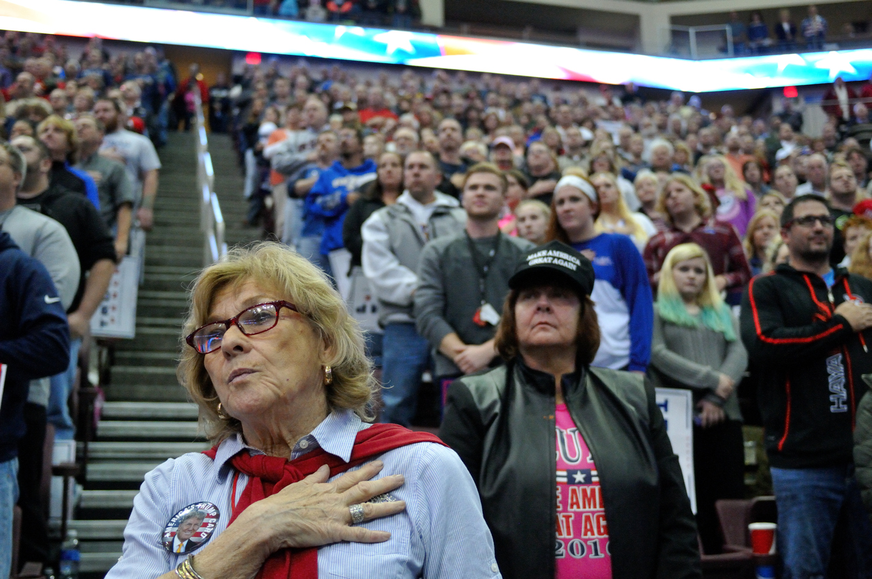 Donald Trump supporters at a presidential campaign rally