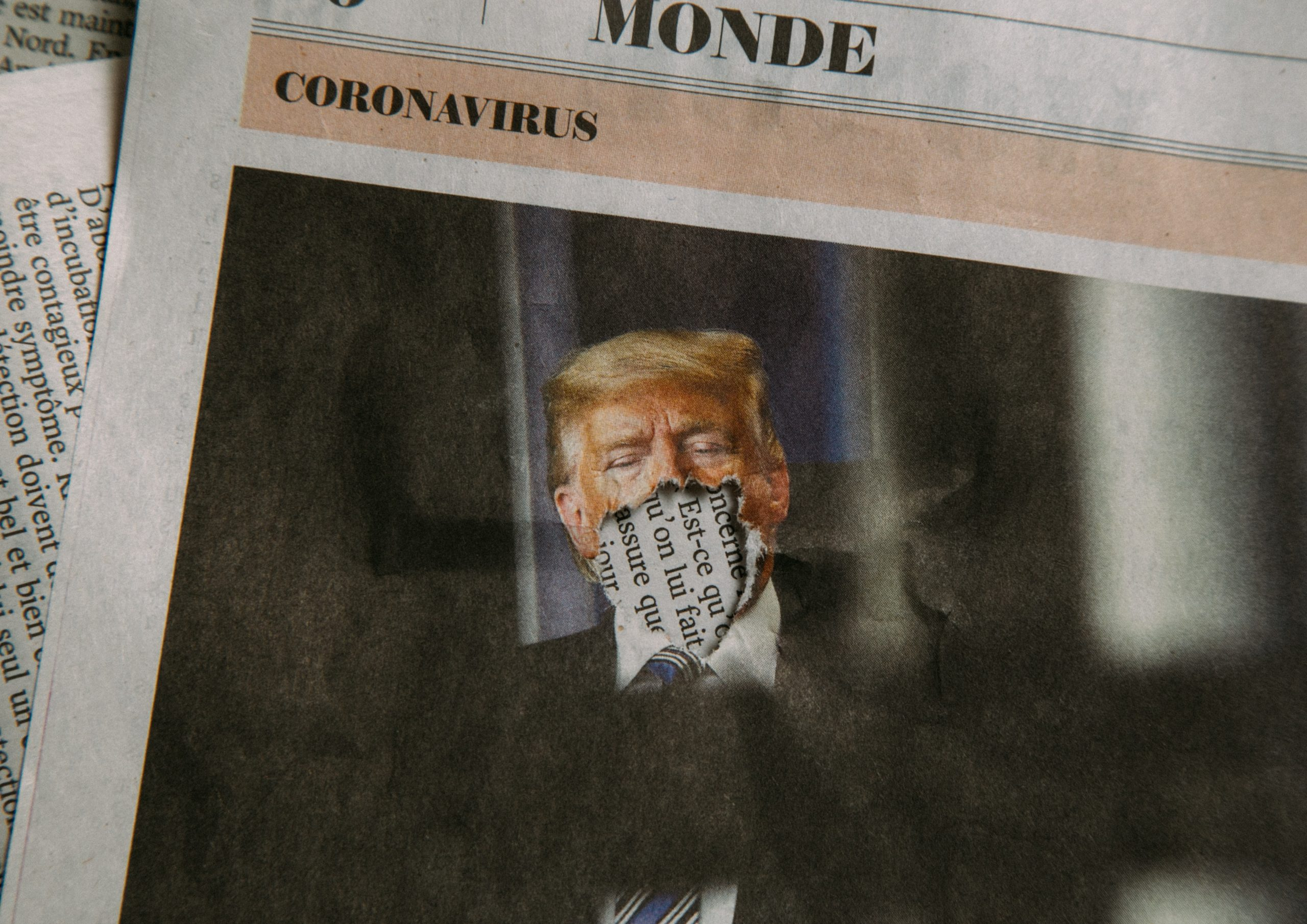 newspaper image of trump