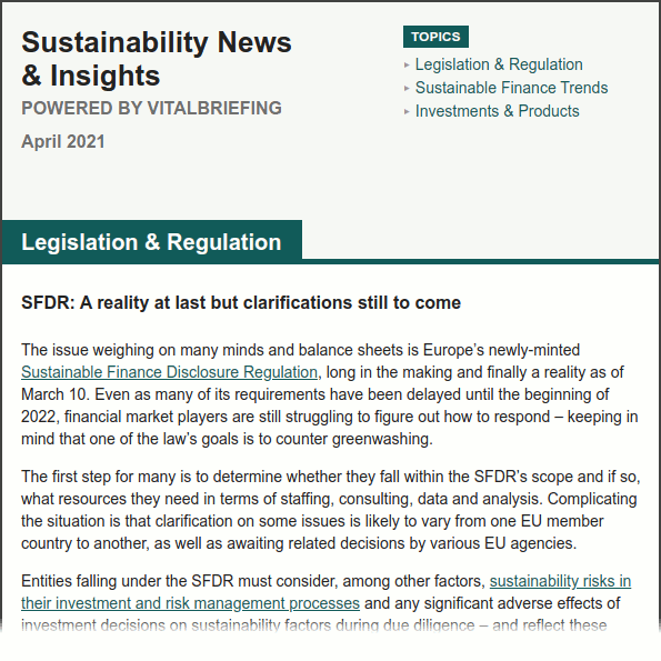 """Screenshot of """"Sustainability News & Insights"""" briefing, including header, table of contents and firs few paragraphs. The full text is available in the pop-up lightbox which opens when this image is clicked on."""