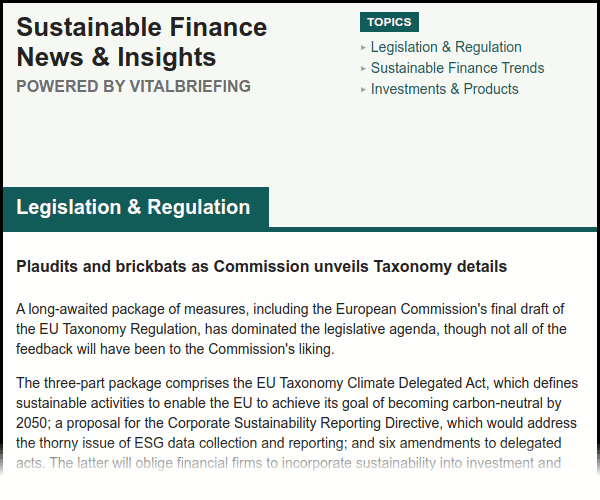 """Screenshot of """"Sustainable Finance News & Insights"""" briefing, including header, table of contents and first few paragraphs. The full text is available in the pop-up lightbox which opens when this image is clicked on."""